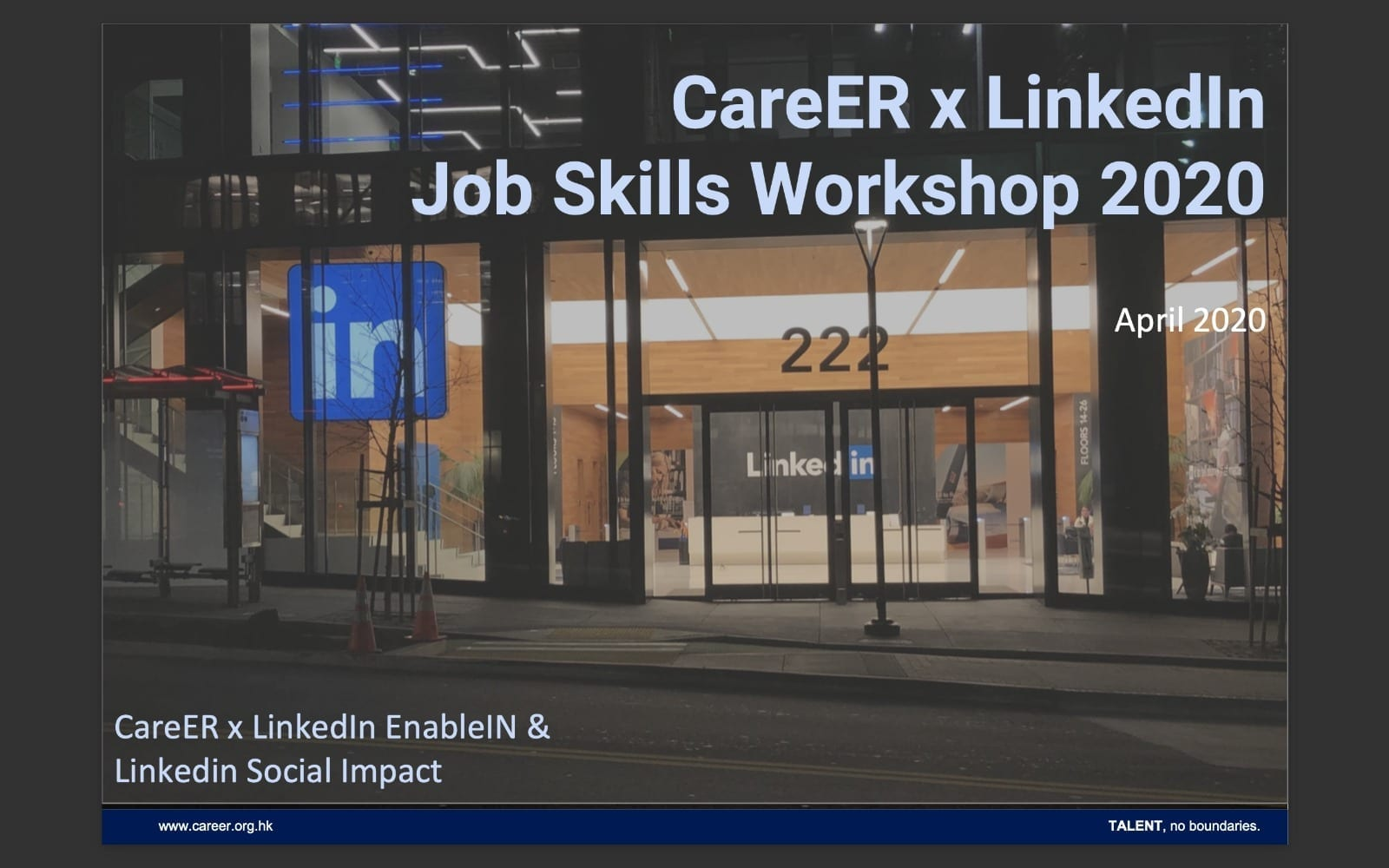 CareER x LinkedIn Job Skills Training Workshop Apr 2020
